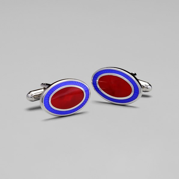 Two-Color Oval Cufflinks - Red/Navy