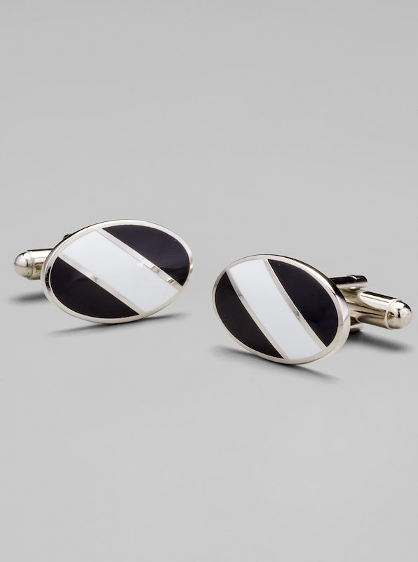 Oval Regimental Stripe Cufflinks - White/Black