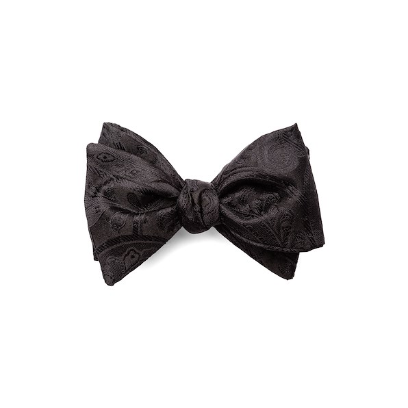 Self-Tied Bowtie - Black Paisley