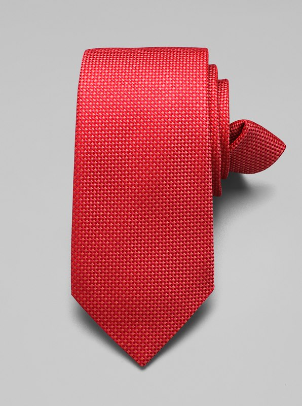 Mini Check Tie - Coral