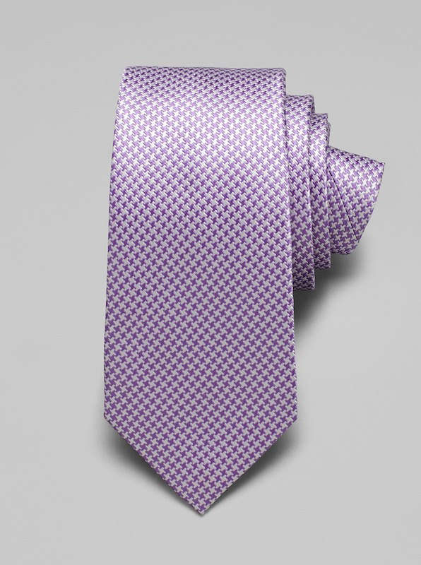 Mini Houndstooth Tie - Lilac
