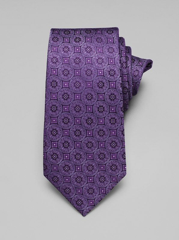 Large Medallion Tie - Purple