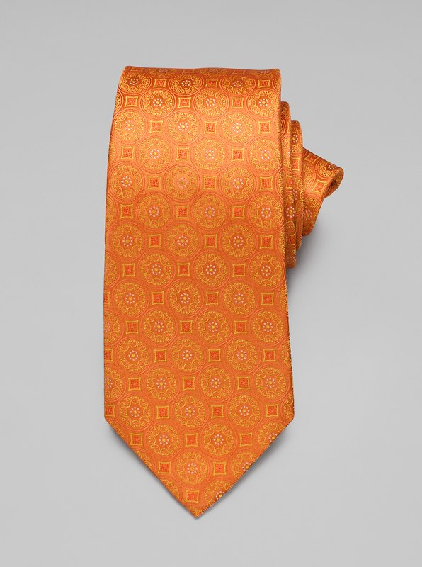 Large Medallion Tie - Orange