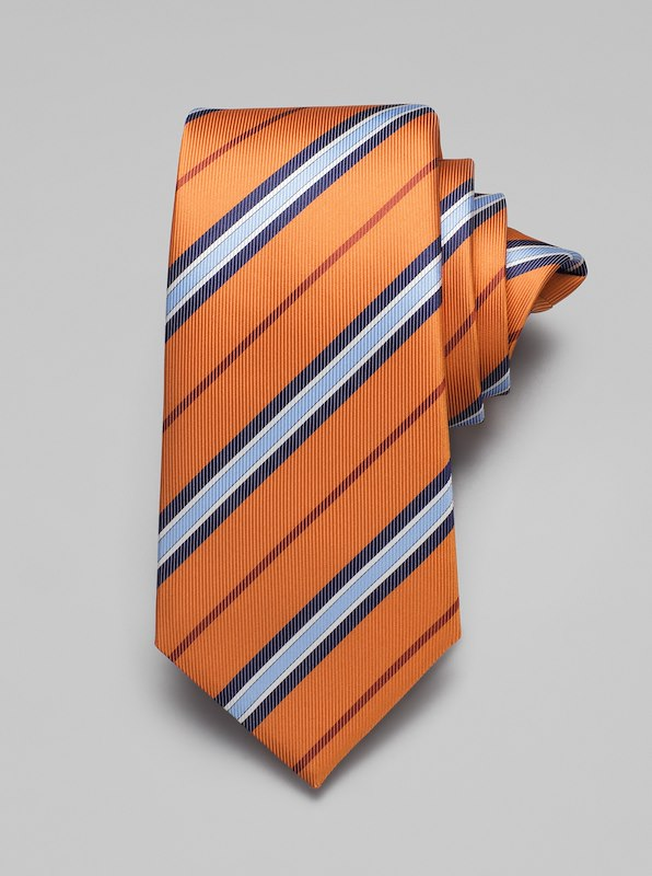 Faille Stripe Tie - Orange
