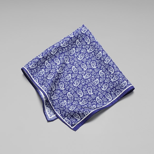 Silk Small Paisley Pocket Square - Navy