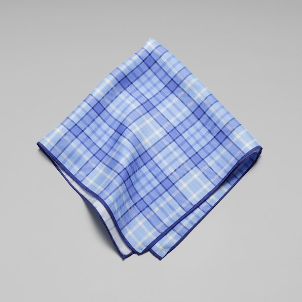 Silk Plaid Pocket Square - Blue