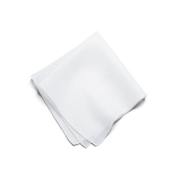 Linen Solid Pocket Square - White