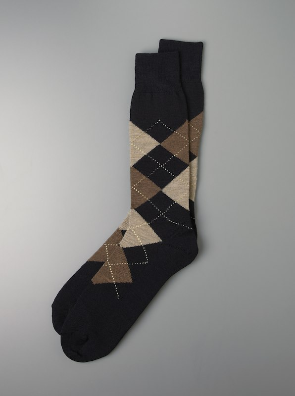 Luxury Merino Wool Argyle Socks - Navy
