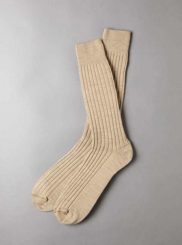 Superwash Merino Wool Mid Calf Socks - Khaki