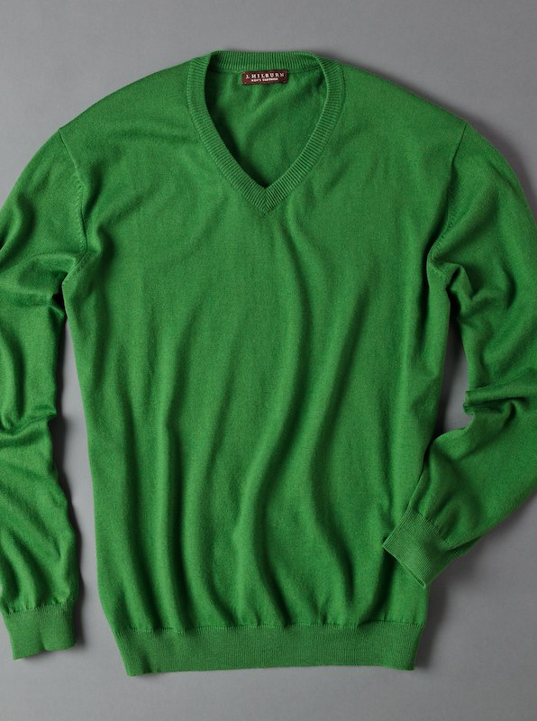 Luxury Blend Ivy V-Neck Sweater - Green