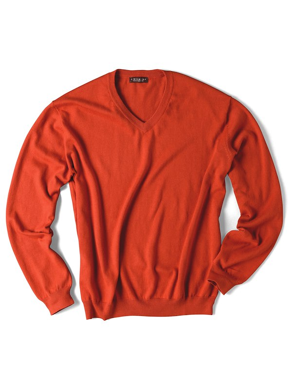 Luxury Blend Ivy V-Neck Sweater - Orange