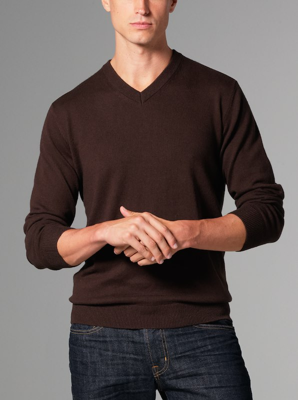 Luxury Blend Ivy V-Neck Sweater - Chocolate