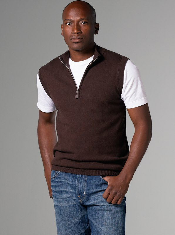 Luxury Blend Carmel Half-Zip Vest - Chocolate