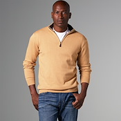 Luxury Blend Carmel Half-Zip Contrast Collar Sweaters