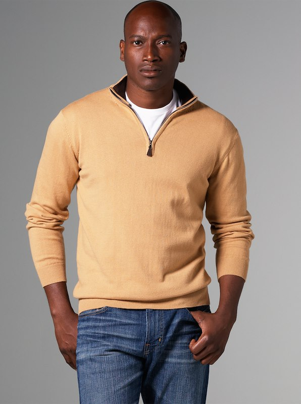 Luxury Blend Carmel Half-Zip Contrast Collar Sweaters - Camel