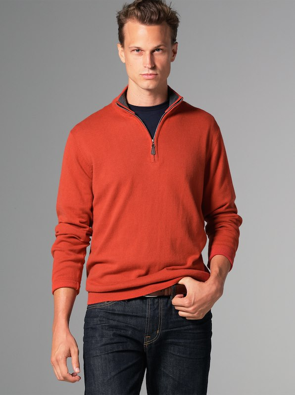 Luxury Blend Carmel Half-Zip Contrast Collar - Orange