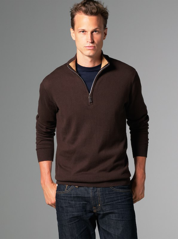 Luxury Blend Carmel Half-Zip Contrast Collar Sweaters - Chocolate