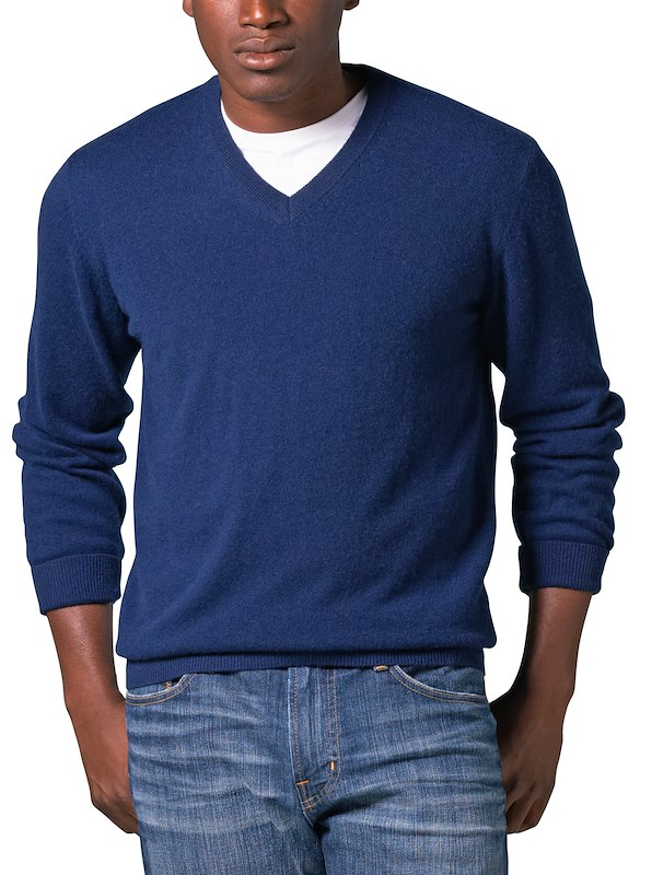 Cashmere Ivy V-Neck Sweater - Indigo