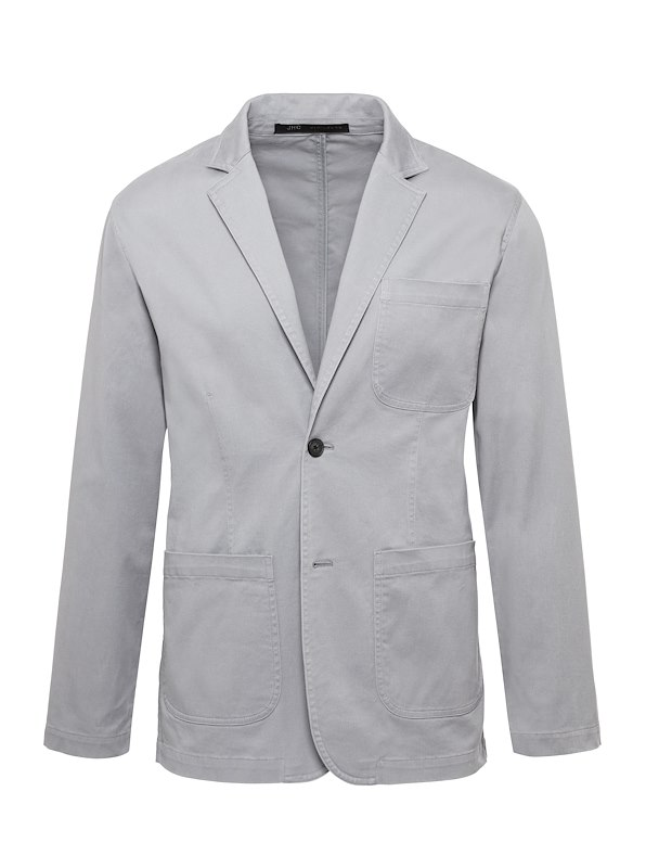 Grey Americano Casual Cotton Blazer