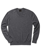 Cashmere V-Neck - Charcoal Heather