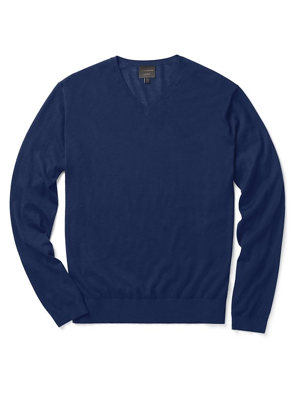 Cashmere V-Neck - Blue Solid