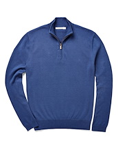Brushed Cotton Zip Neck - Electric Blue