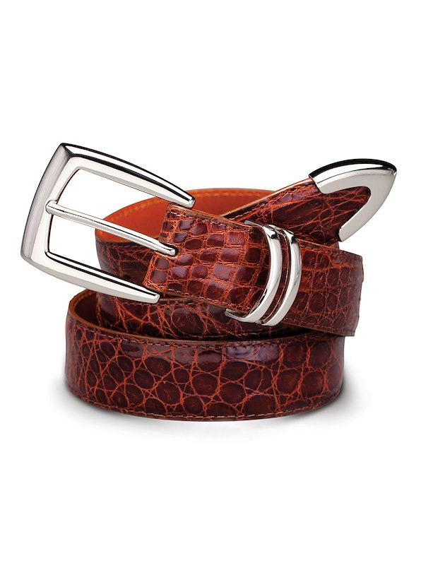 Caiman Crocodile Belt - Silver Tipped English Tan