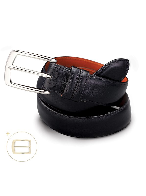 Leather Featheredge Belt - Black
