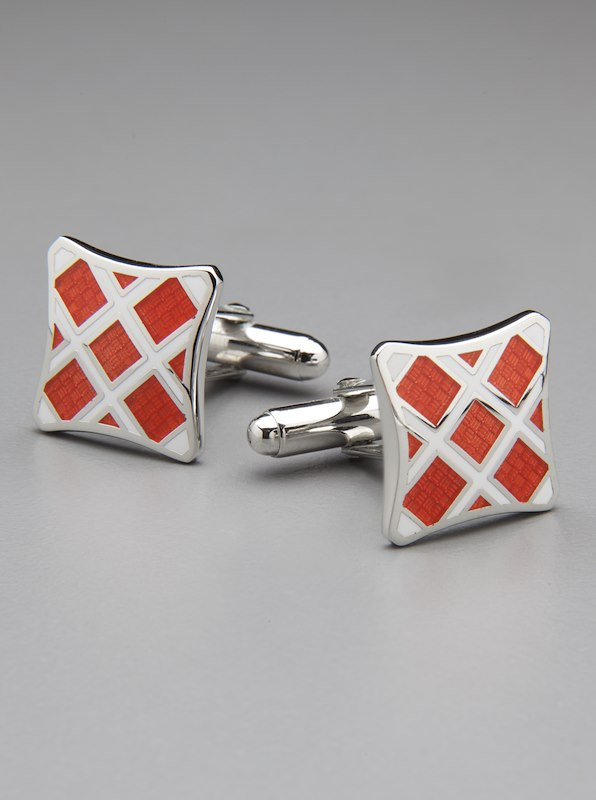 Plaid Cufflinks - Orange