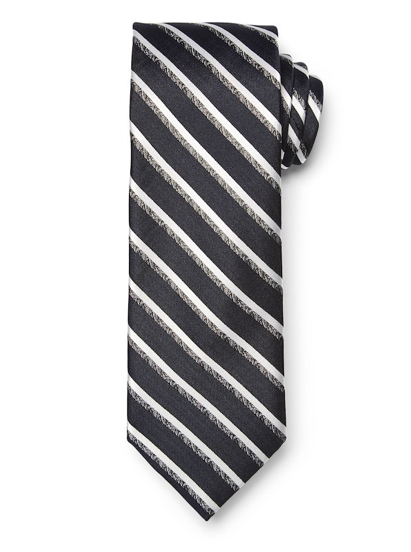 Mélange Stripe Tie - Grey/Navy
