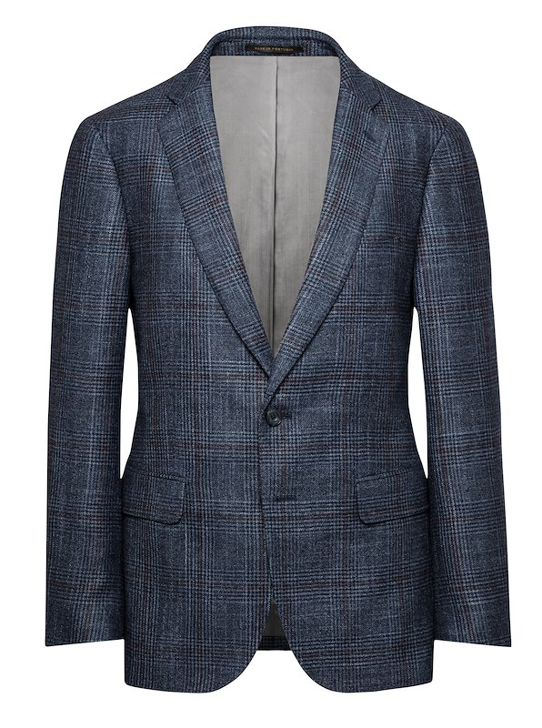 Storm Blue/Berry Wool/Silk/Cashmere Glen Plaid