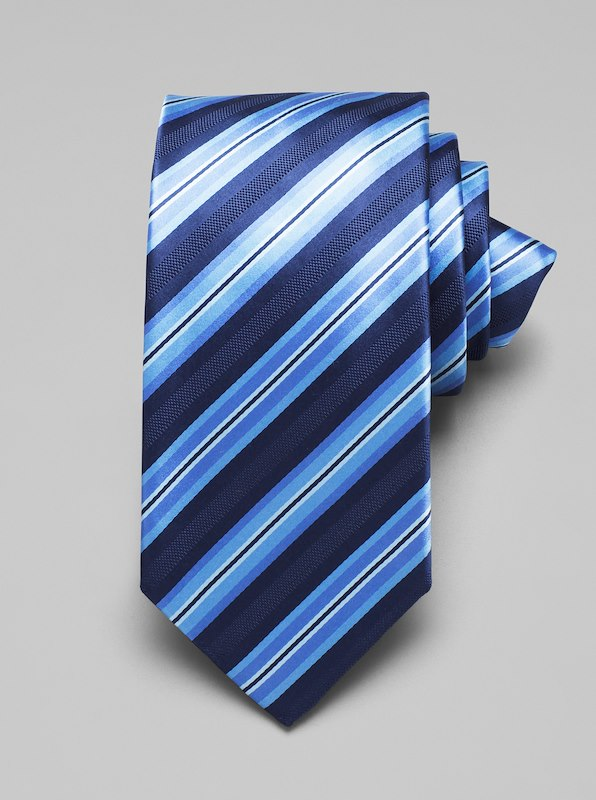 Satin Multi Stripe Tie - Blue