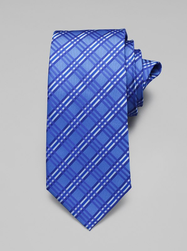 Neat Plaid Tie - Blue
