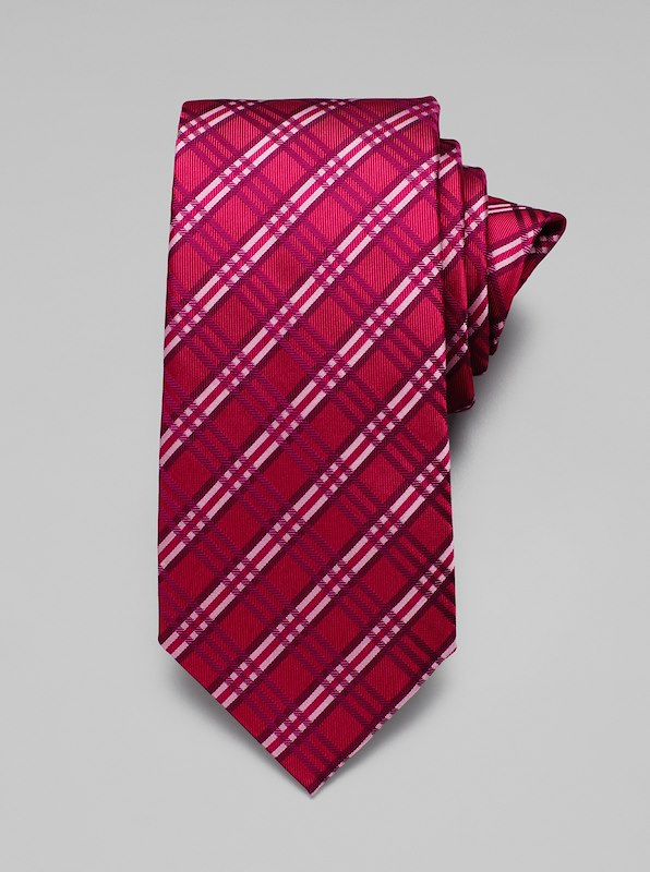 Neat Plaid Tie - Berry