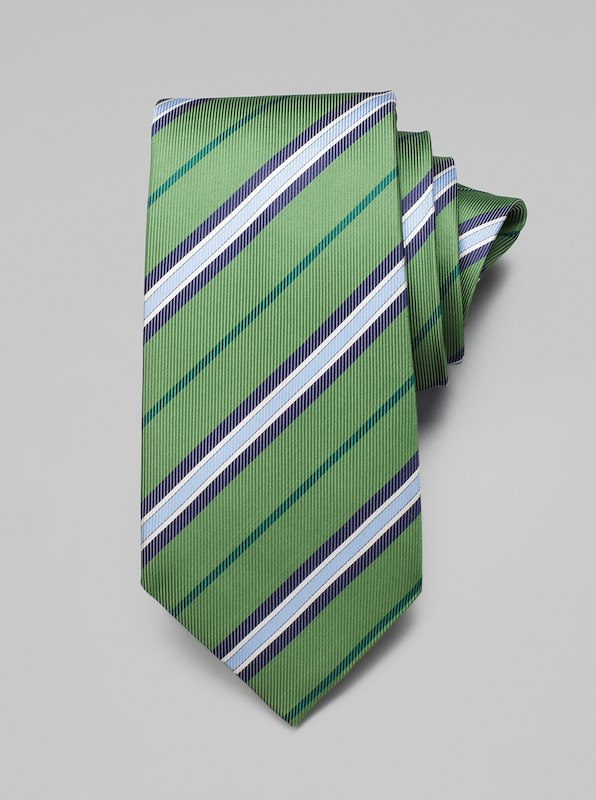 Faille Stripe Tie - Grass