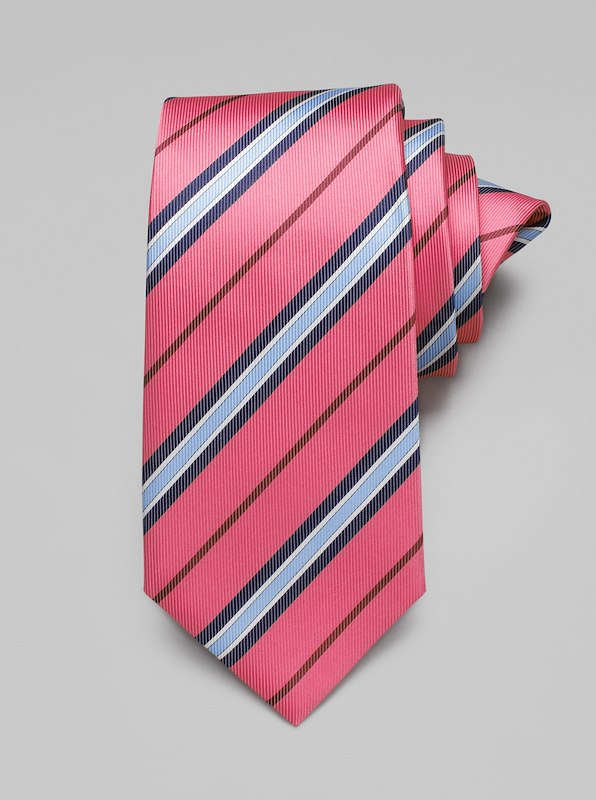 Faille Stripe Tie - Berry