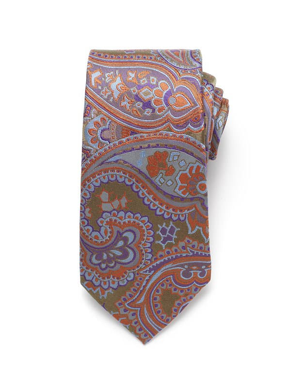 Bold Paisley Tie - Olive