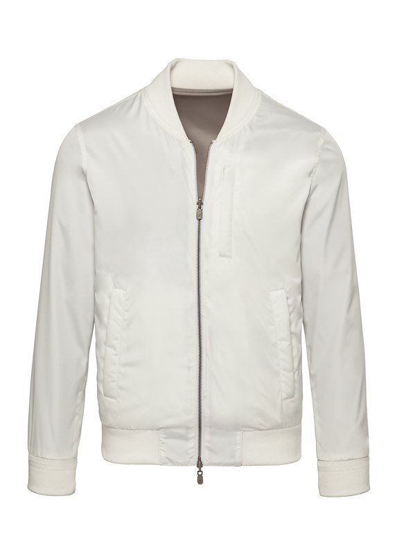 White Solid Brushed Polyester-Reversible Bomber Jacket