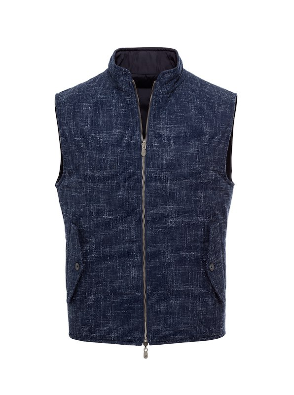 Denim Blue Textured Basketweave-Reversible Vest