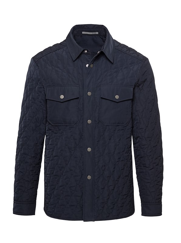 Navy Matte Polyester Quilted Shirt Jacket