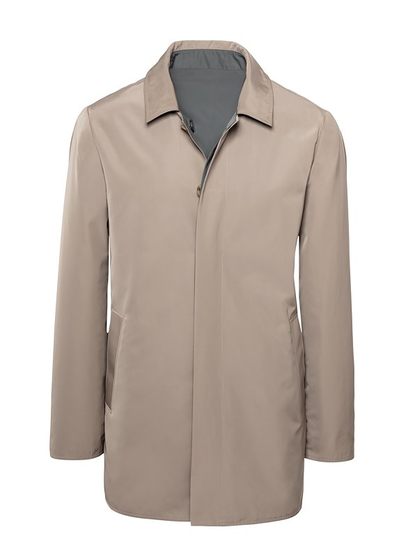 Taupe Matte Polyester Reversible Raincoat