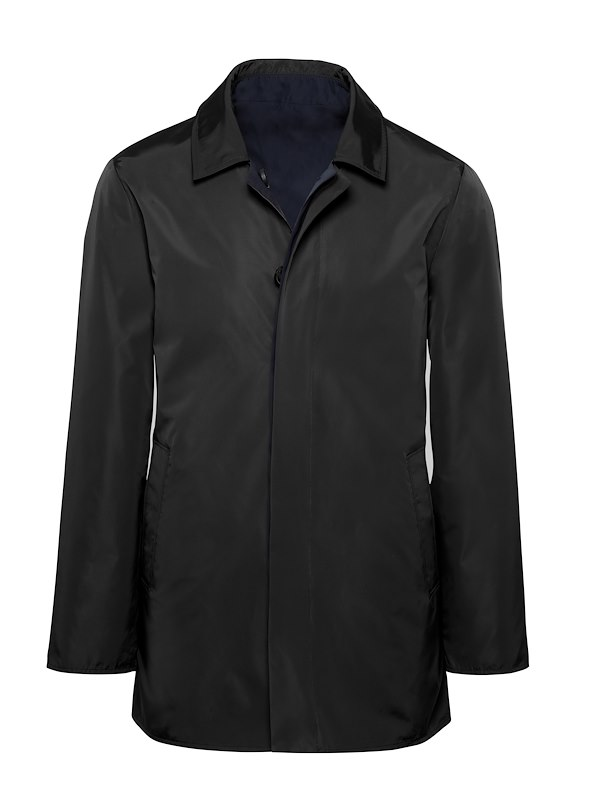 Black Solid Nylon Reversible Raincoat