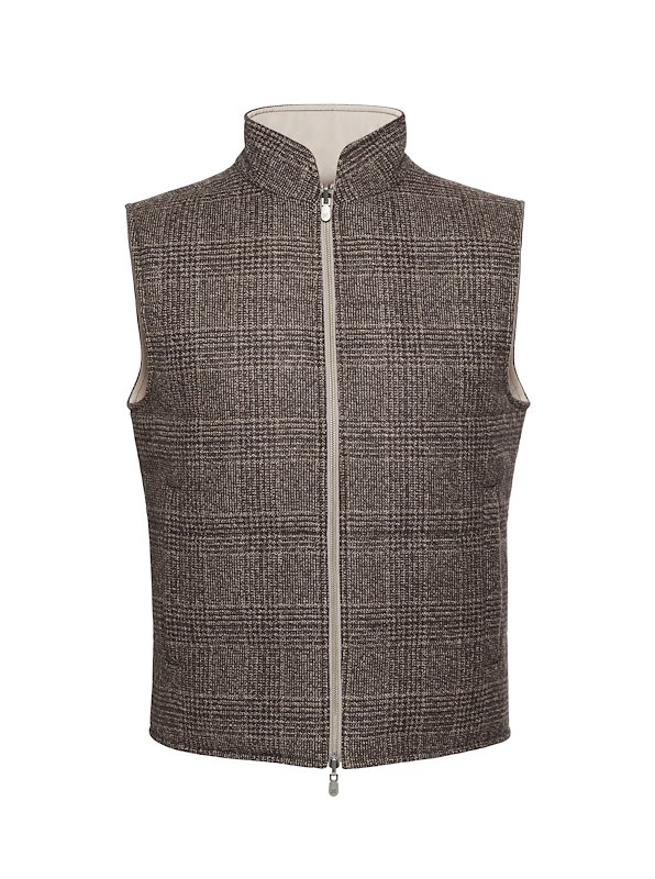 Hickory Glen Plaid Cashmere Reversible Vest
