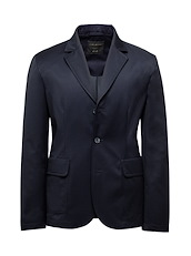 Navy with Mid-Blue Solid Hybrid Blazer