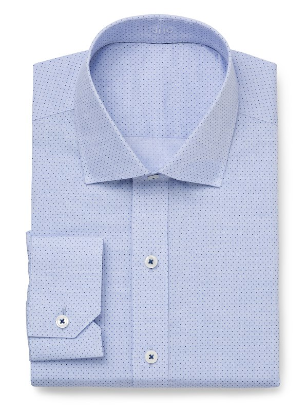 Blue Chambray Pindot Print