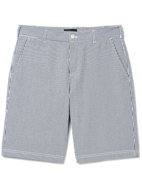 Seersucker Short - European Fit - Navy / White