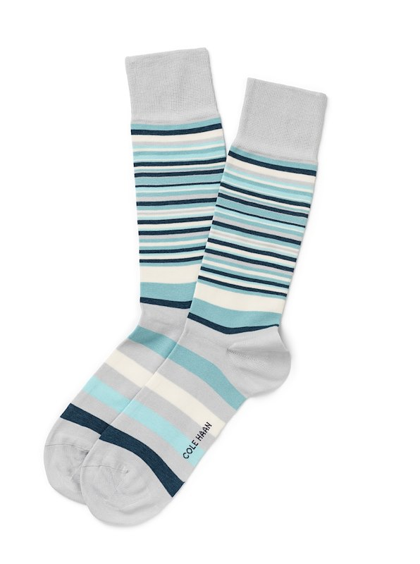 Cole Haan Town Stripe Crew - Teal Oxford Heather