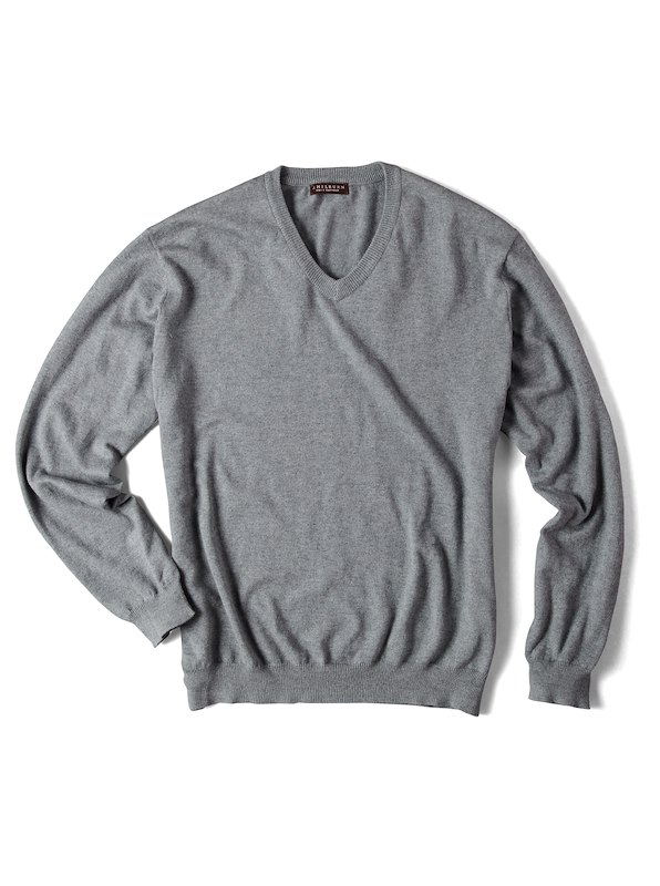 Luxury Blend Ivy V-Neck Sweater - Grey
