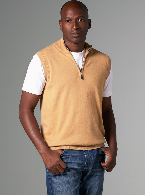Luxury Blend Carmel Half-Zip Vest - Camel