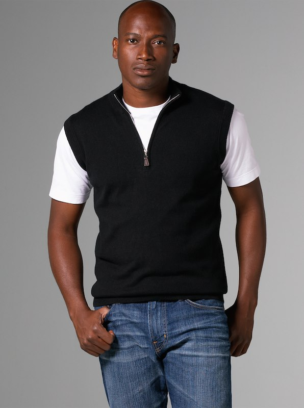 Luxury Blend Carmel Half-Zip Vest - Black